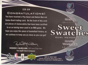 Upper Deck 2006-07 #087/199 Sweet Swatches Error (Back)
